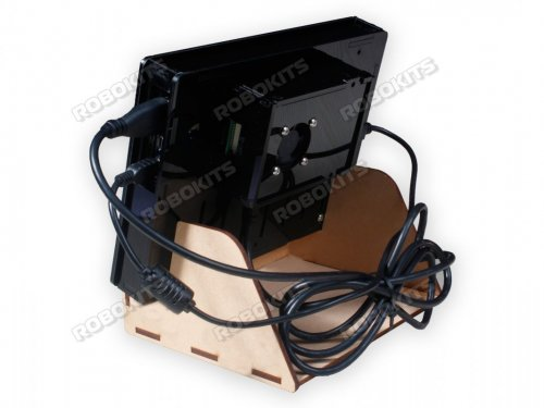 "Combo Of Black Acrylic Case With MDF Stand + Raspberry Pi 7"" LCD Display Raspberry Pi 4 Compatible"