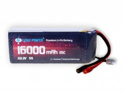 GenX 22.2V 6S 16000mAh 25C / 50C Premium Lipo Battery with AS150 Connector