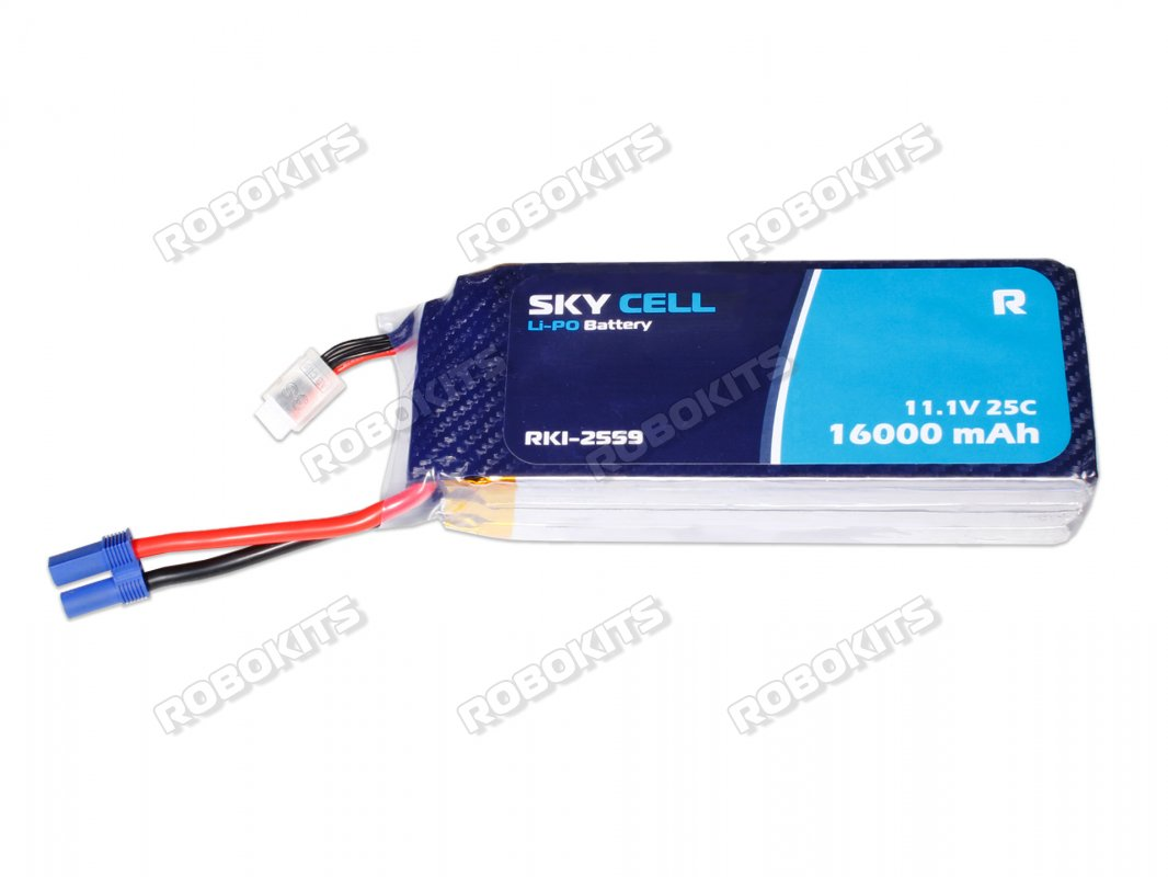 Skycell 11.1V 3S 16000mah 25C (Lipo) Lithium Polymer Rechargeable Battery - Click Image to Close