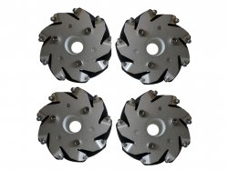 100mm Mecanum Wheel Set (2x Left, 2x Right) - Bearing Rollers