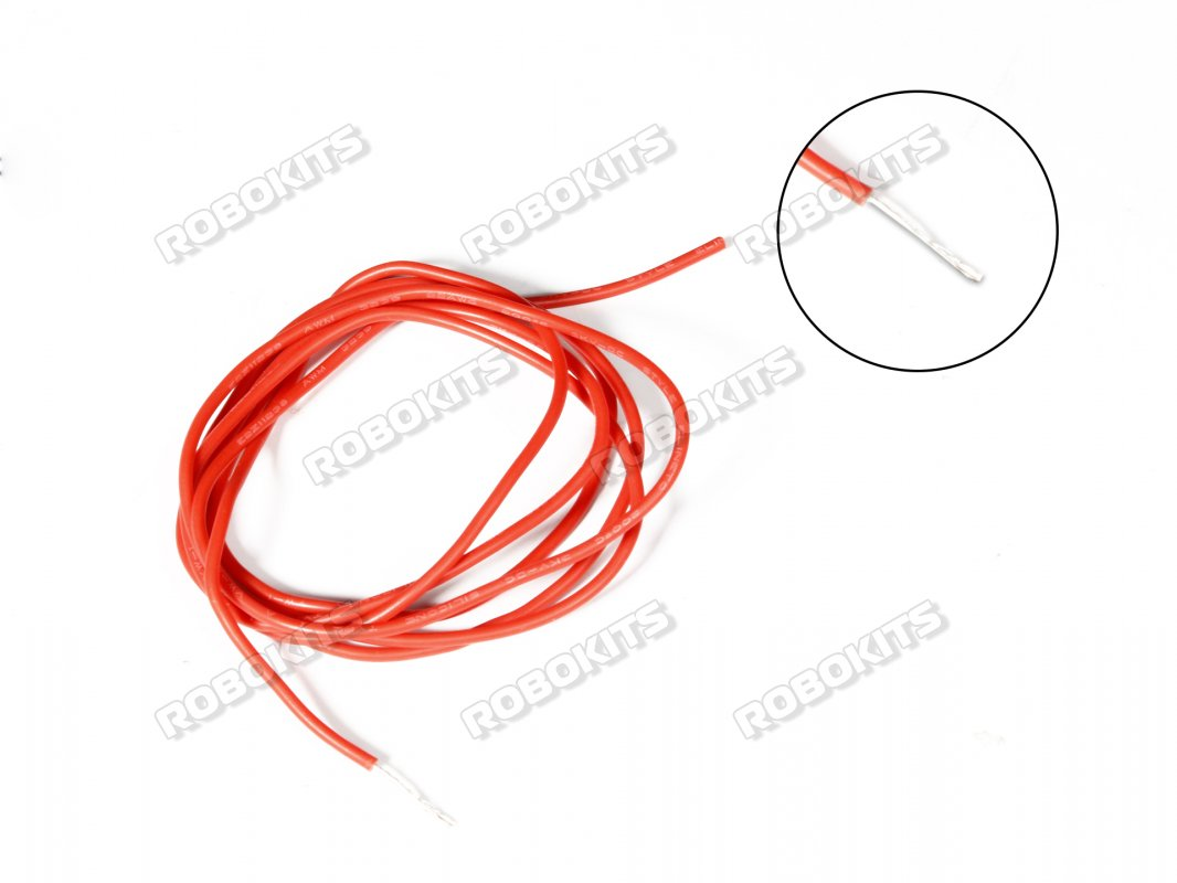 Silicone Wire High Temperature Corrosion Resistant 3KV UL 3239 Grade 20AWG (1m Red) - Click Image to Close