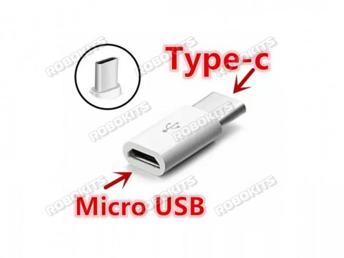 Micro USB Type B (Female) to USB Type C (Male) Converter Adapter for Raspberry Pi