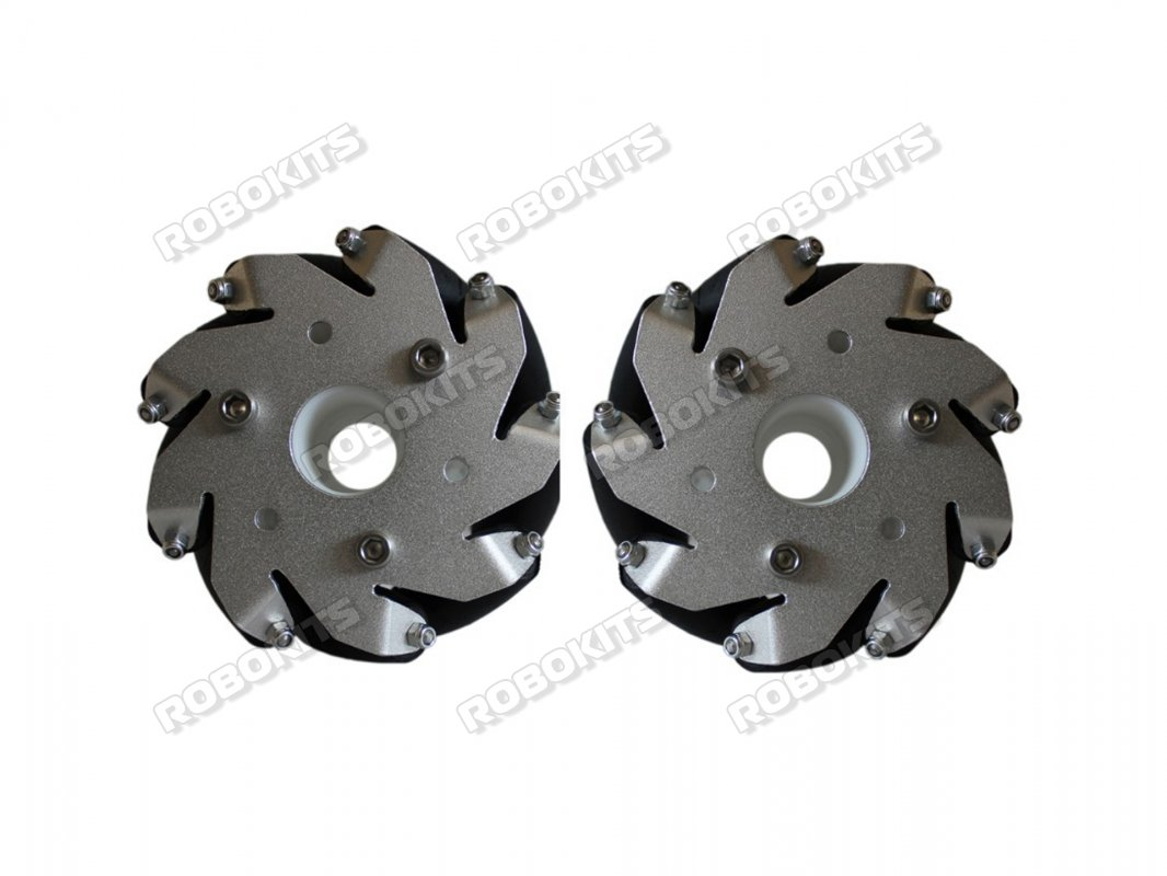 100mm Mecanum Wheel Set (1x Left, 1x Right) - Click Image to Close