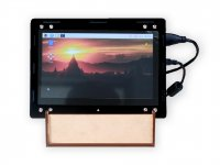 "Black Acrylic Case With MDF Stand For Raspberry PI 7"" HDMI LCD Display and Raspberry 4"