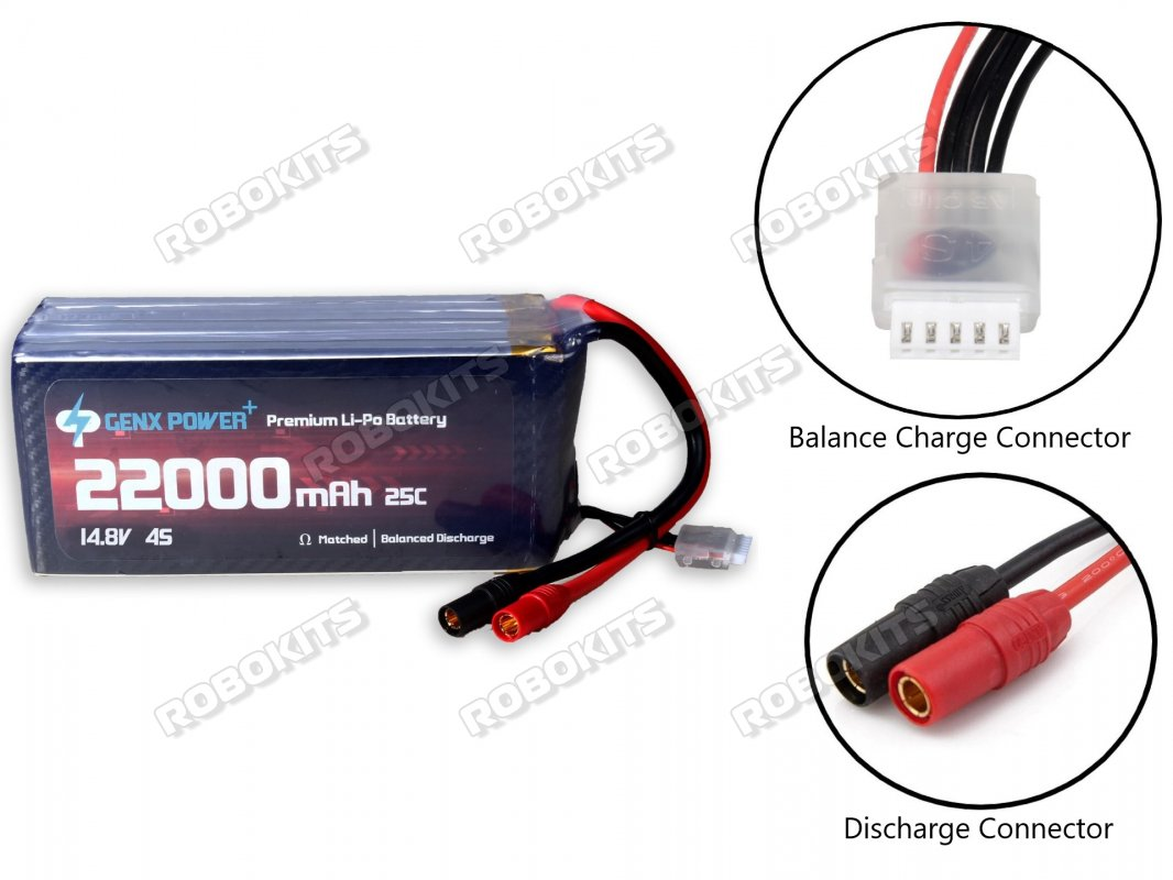 GenX 14.8V 4S 22000mAh 25C / 50C Premium Lipo Battery with AS150 Connector - Click Image to Close