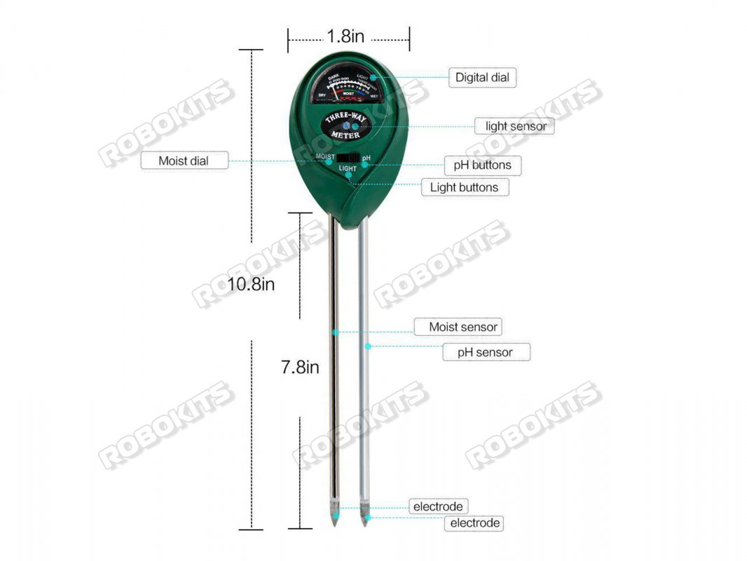 Three-Way Soil Meter Moisture/Light Intensity/pH Testing - Click Image to Close
