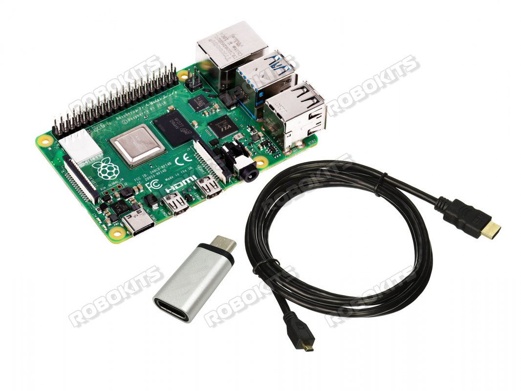 Combo of Raspberry Pi 4 (1 GB RAM) + Micro HDMI to HDMI cable + Micro-USB to type C Converter - Click Image to Close