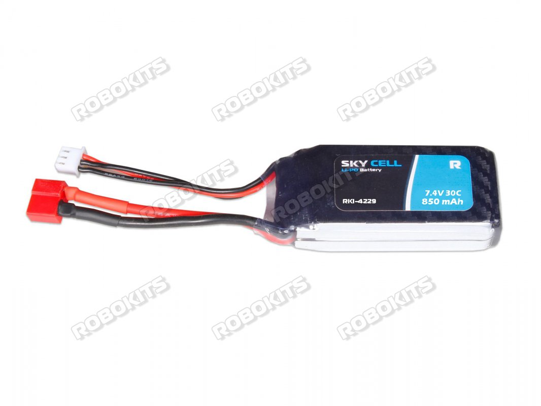 Skycell 7.4V 2S 850mah 30C (Lipo) Lithium Polymer Rechargeable Battery - Click Image to Close