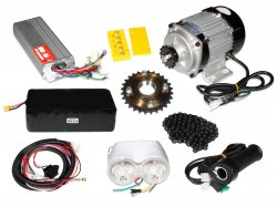 E-Bike 48V 400RPM 750W BLDC Geared Motor with Complete E-Bike Accessories Kit and Battery