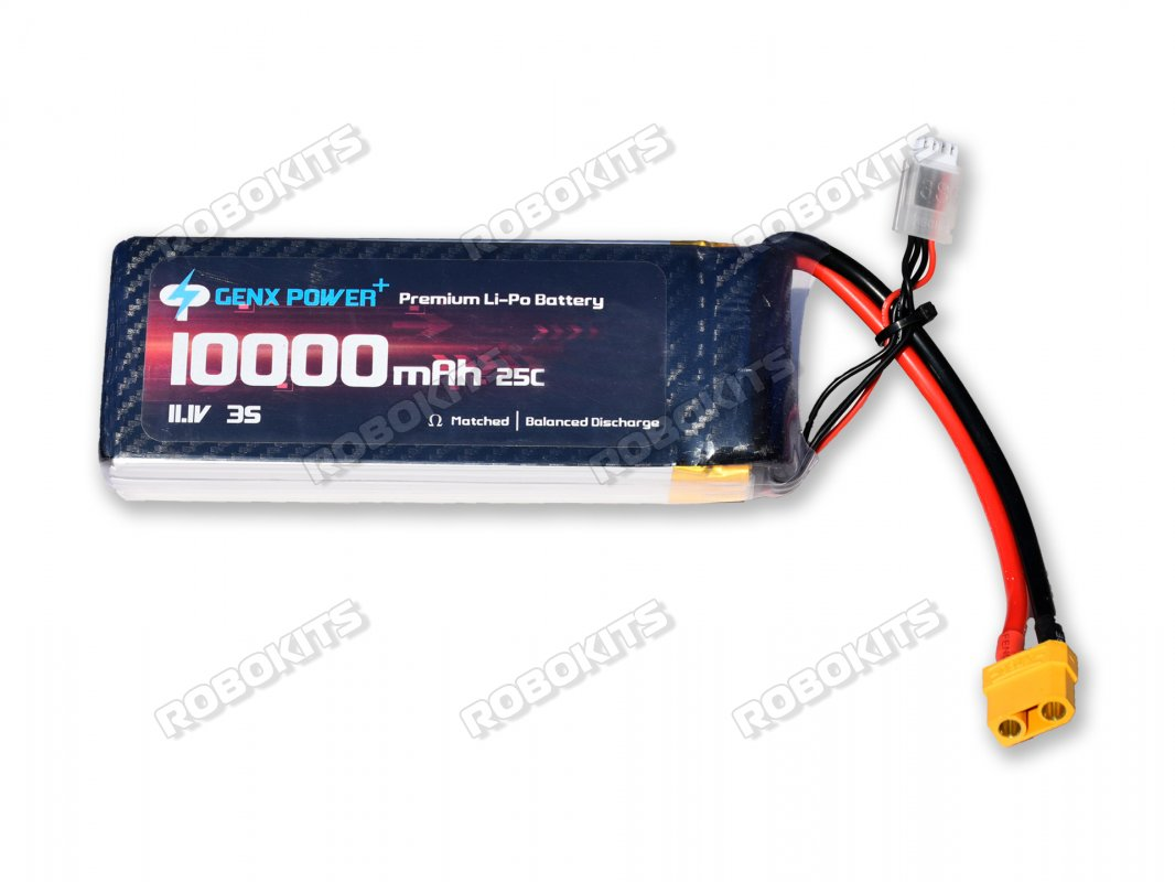 GenX 11.1V 3S 10000mAh 40C / 80C Premium Lipo Lithium Polymer Battery with XT-90 Connector - Click Image to Close