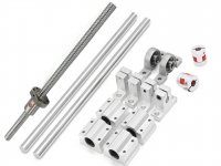 Astro 16 Pcs Combo of 12mm Dia. 1000mm Length Ball Screw Rod CNC Linear Rail Shaft + Bearing Slide Support Set