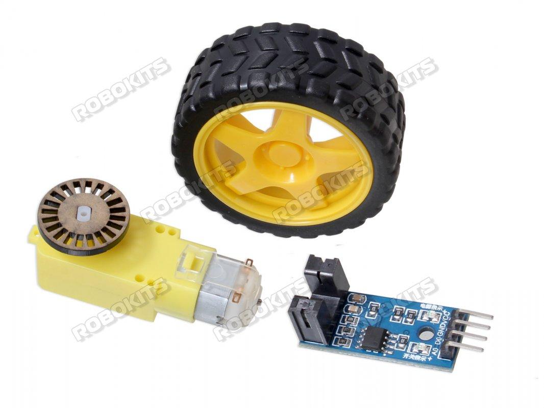 BO motor + Wheel + Encoder Disc + Encoder sensor Combo