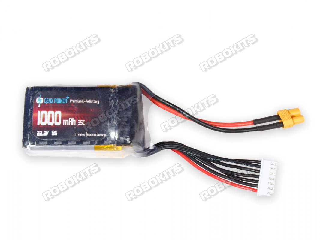 GenX 22.2V 6S 1000mAh 35C / 70C Premium Lipo Lithium Polymer Battery - Click Image to Close