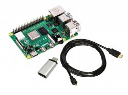 Combo of Raspberry Pi 4 (1 GB RAM) + Micro HDMI to HDMI cable + Micro-USB to type C Converter